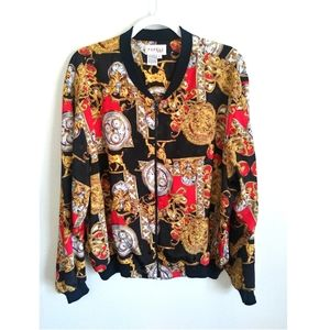 Other - Designer Vintage Silk Like Bomber Jacket